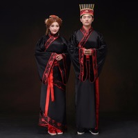 Ancient Chinese Standard Traditional Wedding Bride And Groom Black Red Costume Set Tang Song Ming Dynasty