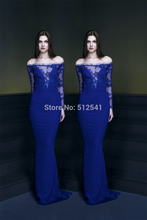 New Arrive Long Sleeve Evening Dresses Trumpet Mermaid V Neck Beads Applique Chiffon Women Gown yk1A171