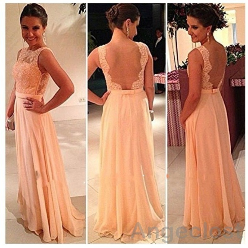 Peach Chiffon Illusion Back Bridesmaid Dresses Long 2016 Spaghetti Straps Boat Neck A Line Maid Of Honor Wedding Guest Gowns In From