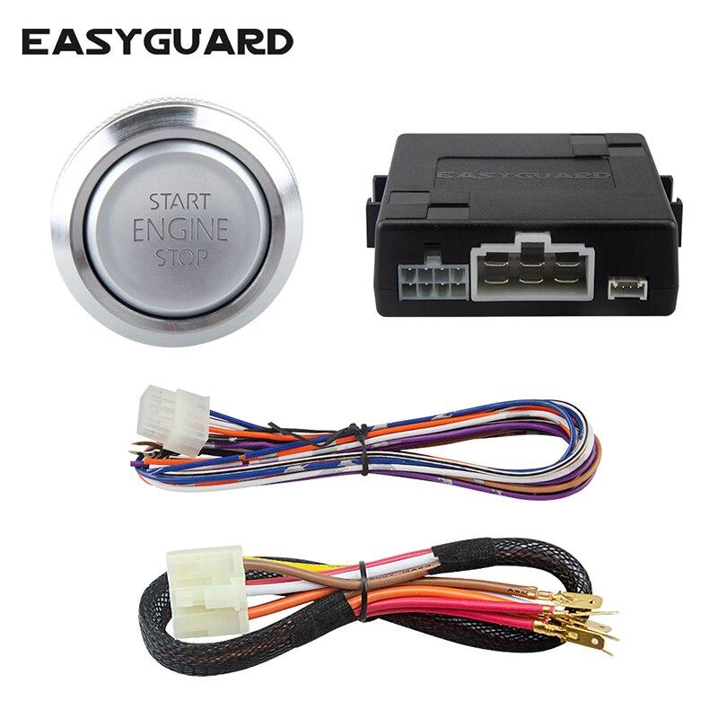 Système de démarrage de moteur de poussée de voiture EASYGUARD avec démarrage automatique en option pour voiture à engrenages automatique compatible avec le système d'alarme de voiture DC12V