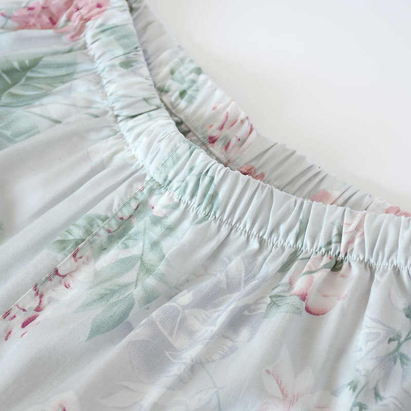 2019 Весенний Новый женский пижамный комплект с цветочным принтом, мягкая одежда для сна из хлопка, простой стиль, женская одежда с длинным рукавом + штаны, комплект из 2 предметов, домашняя одежда