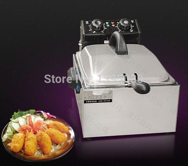 1PC 5.5L Chef Electric Commercial Deep Fryer Single Basket Steel Fried Chicken Maker Clocked Fryer thick single cylinder electric fryer commercial electric fryer fried chicken oven fries fried squid machine dedicated