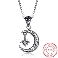 Vintage 925 Sterling Silver Moon Star Necklaces Pendants Silver Chain Choker Necklaces Jewelry Collar Colar Free