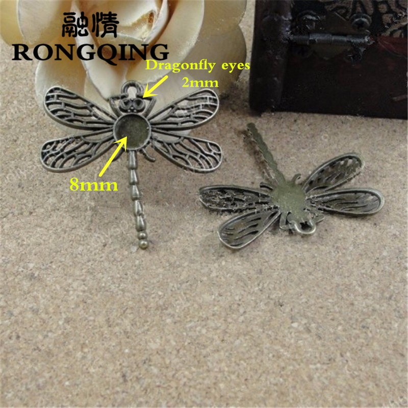 RONGQING 40pcs/lot Antique Bronze 8mm Inner Size Dragonfly Cameo Cab Zinc Alloy Photo Cabochons
