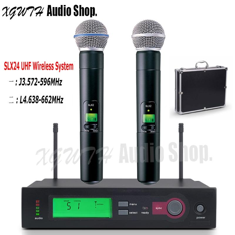 SLX24 BETA58A SM58 SM 58 UHF Wireless Microphone System Single Recording Studio Dynamic Handheld Karaoke Mic With Box