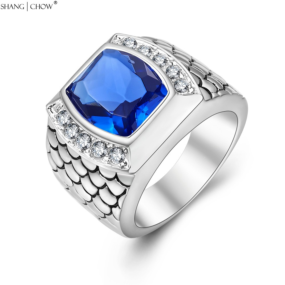 2017 Vintage Charm Jewelry with Huge Blue Stone 925 ... Silver Rings For Men With Blue Stone
