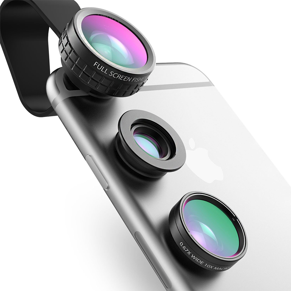 Цена за AUKEY Рыбий глаз Объектив 3in 1 Клип на Мобильный Телефон Камеры 180 степень Рыбий глаз + Широкоугольный + Макро-Объектив для iPhone 7 Плюс Xiaomi и Более
