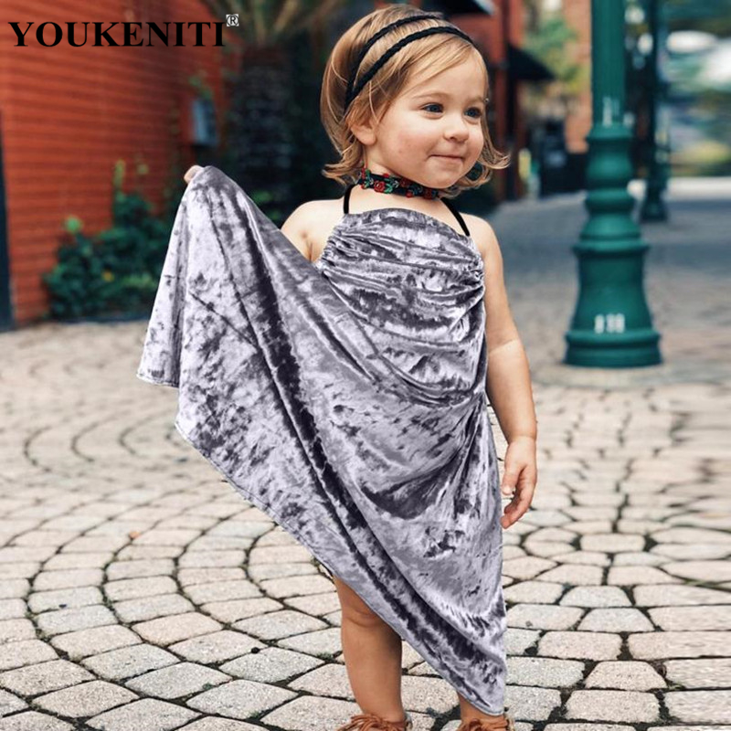 YOUKENITI 2018 Fashion Spring hot Sleeveless Long dress for girls pleuche soft mid-calf a line baby clothings 24M-5T Children