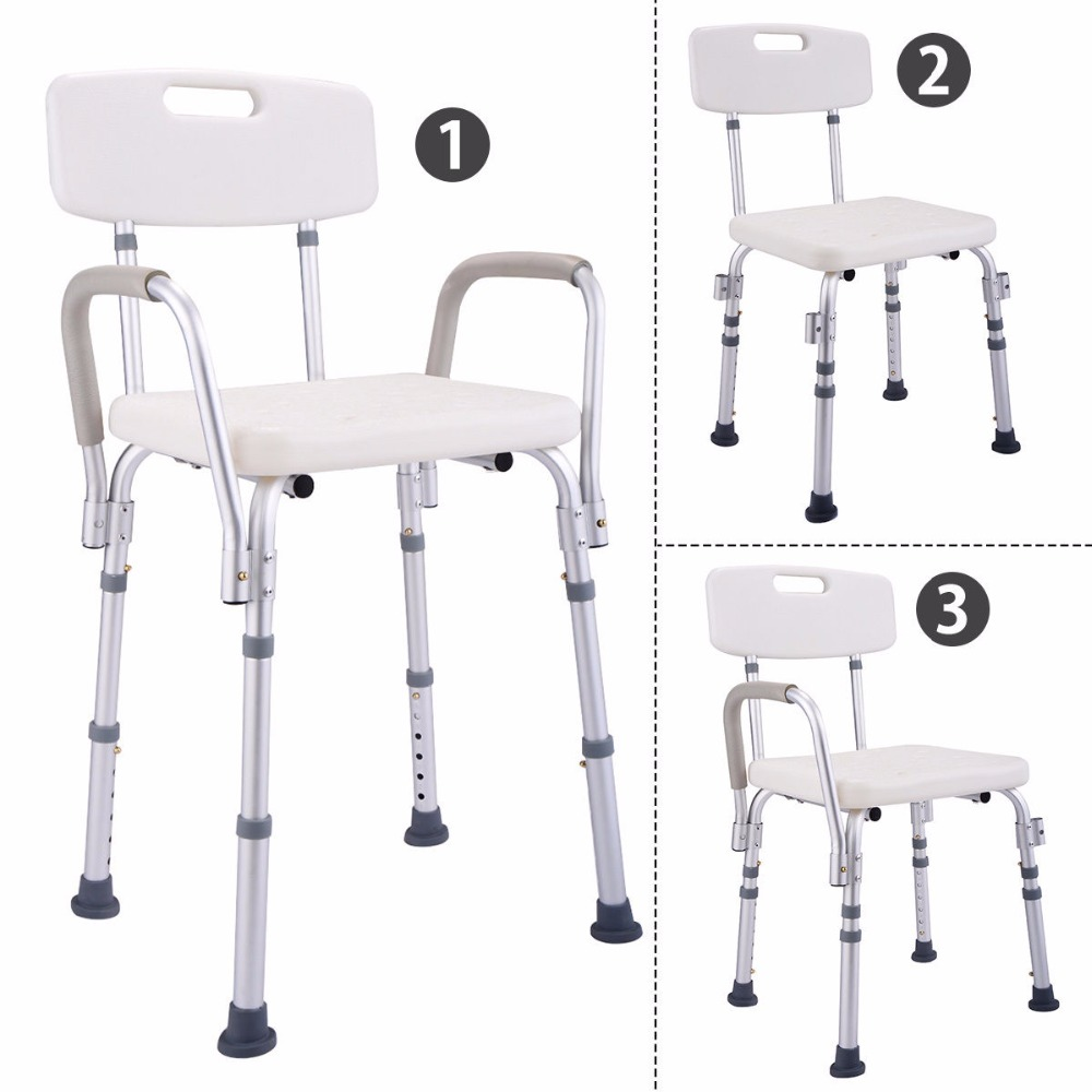 Goplus 6 Height Adjustable Medical Shower Chair Stool Bath Tub with Back & Armrest Bathroom Non-slip Stool for Pregnant BA7152 bathroom shower stool shower folding stool seat bathroom non slip bathroom wall chair change shoes wall chair