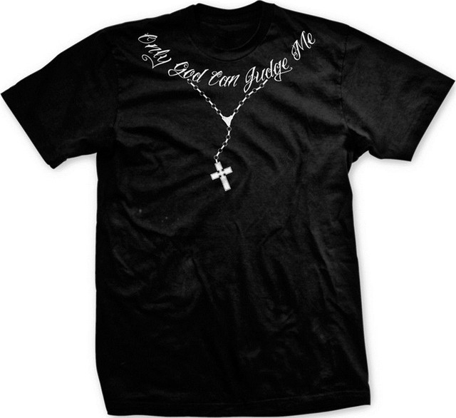 16c491cfeefe8 US $14.25 25% OFF Only God Can Judge Me Christian Cross Rosary Tupac Tattoo  Script Mens T shirt 2pac Hip Hop Rap Swag Tee Shirts Hipster Cool Tops-in  ...