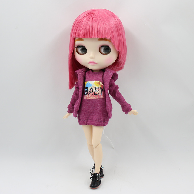 Blyth nude doll 30cm white skin Cute black short curly hair 1/6 JOINT body new matte face ICY DIY toy