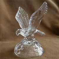Exquisite Crystal Glass Eagle Miniature Mineral Quartz Hawk Sculpture Bird of Prey Decor Handicraft Ornament Present Accessories