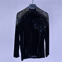 Latin Shirt Black Velvet Rhinestone Long Sleeve Men Latin Dance Tops Stage Competition Cha Cha Rumba Samba Dancing Wear DNV10998