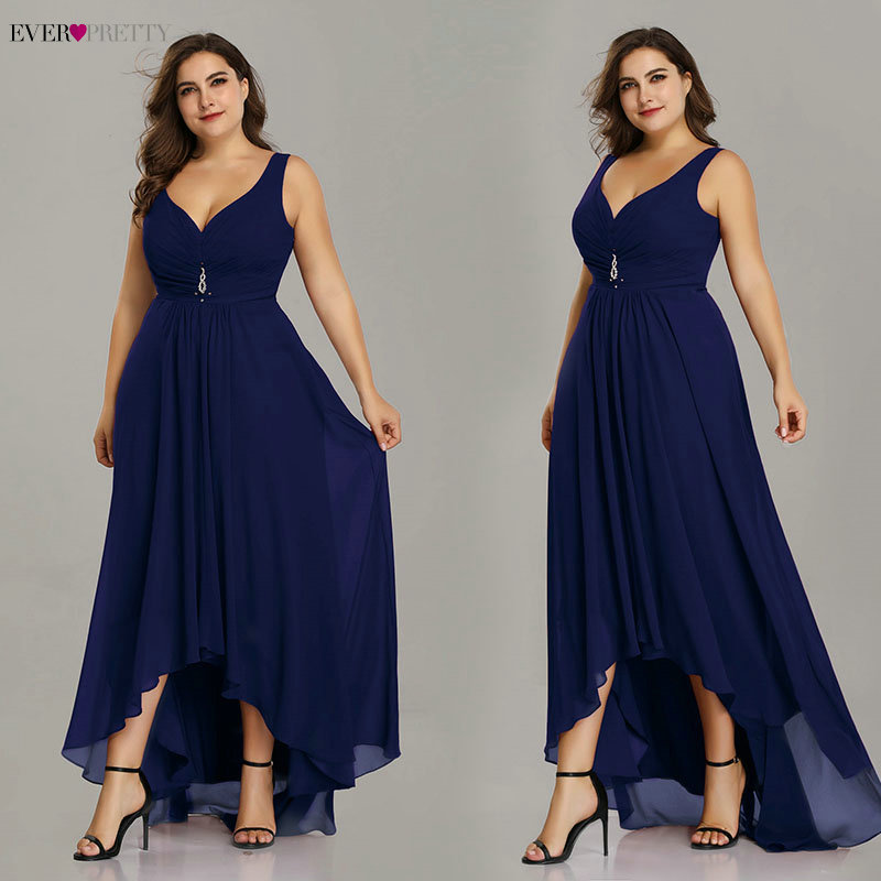 Image 3 - Plus Size Evening Dresses Long 2019 Elegant Burgundy A line Sleeveless Crystal High Low Ever Pretty Special Occasion Dresses-in Evening Dresses from Weddings & Events