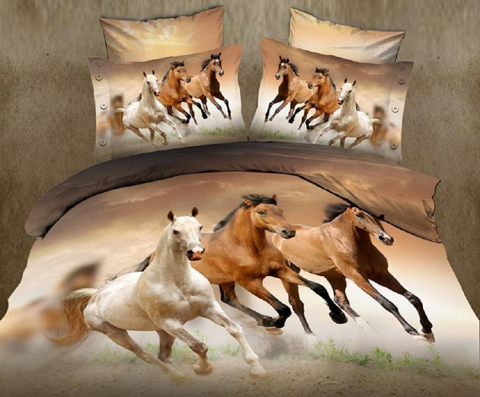 3D Horse Printed Black Animal Duvet Quilt Cover Bedding Set With Pillow Case