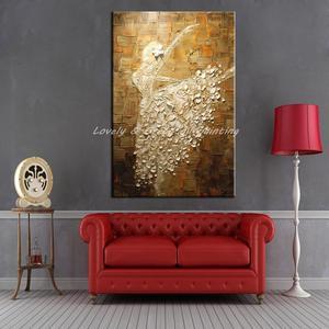 Image 4 - Mintura בלט רקדנית תמונה יד צבוע מופשט צבעים סכין ציורי שמן על בד קיר אמנות לסלון בית תפאורה