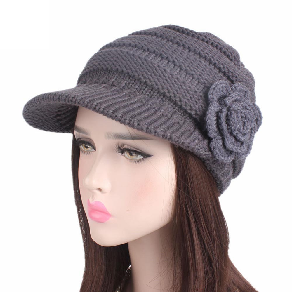 Women Ladies Keep Warm Winter Knitting Hat Berets Turban Brim Hat Cap Pile Cap Sombrero Caliente Y50B