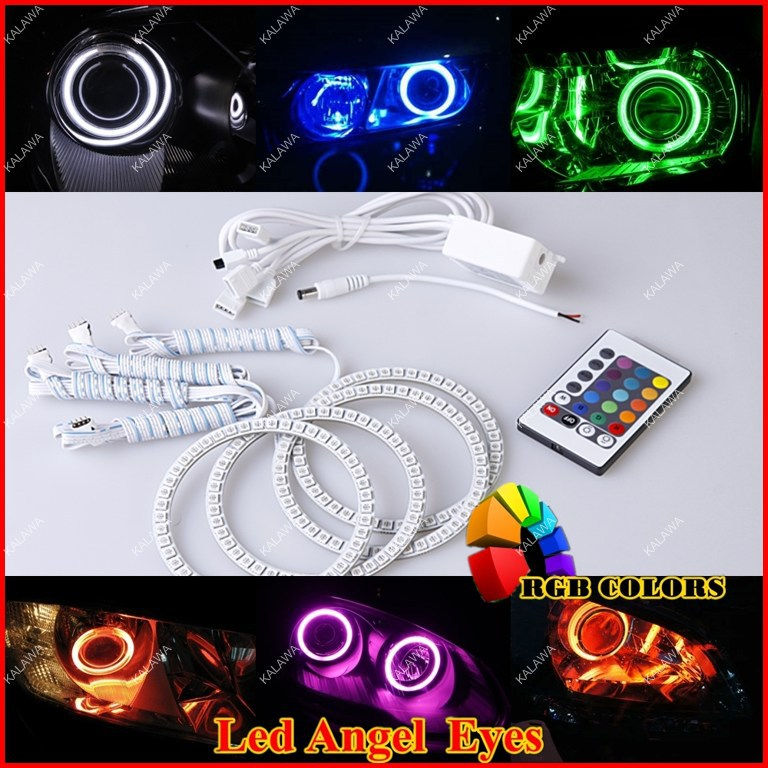 RGB Led Angel Eyes Rings Kit 5050 SMD Headlight ring With Remote Control case for LADA Priora (105mm+115mm) Freeshipping GGG free shipping fit for all car angel eyes headlight 36leds 5050smd 100mm dia rgb smd ring angel eye led 12v