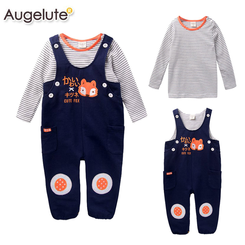 Top Quality New spring baby boys 2pcs suit baby clothing sets cotton striped t-shirt +babi overalls Infant Overall Set retail