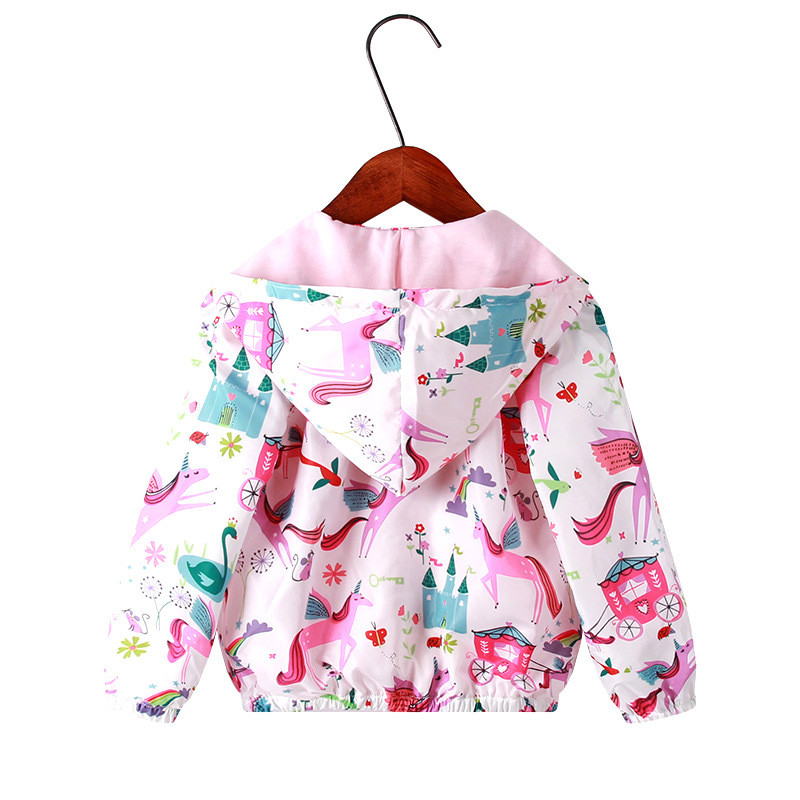 2019 Spring Baby Girls Coat Jackets For Boy Girl Cartoon Flamingo Hooded Windbreaker For Children Full Sleeve Toddler Outerwear in Jackets Coats from Mother Kids