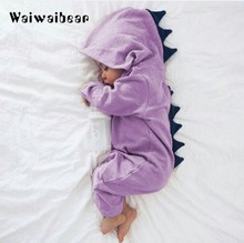 New Arrival Baby Romper Long Sleeve Cotton Hooded Dinosaur Romper Baby Warm Spring Autumn Romper Zipper Jumpsuit Baby Clothes