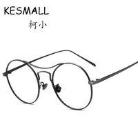 KESMALL CY103 Autumn New The New Metal Frame Flat Lens Eyeglass Frames Vintage Round Glasses Unisex