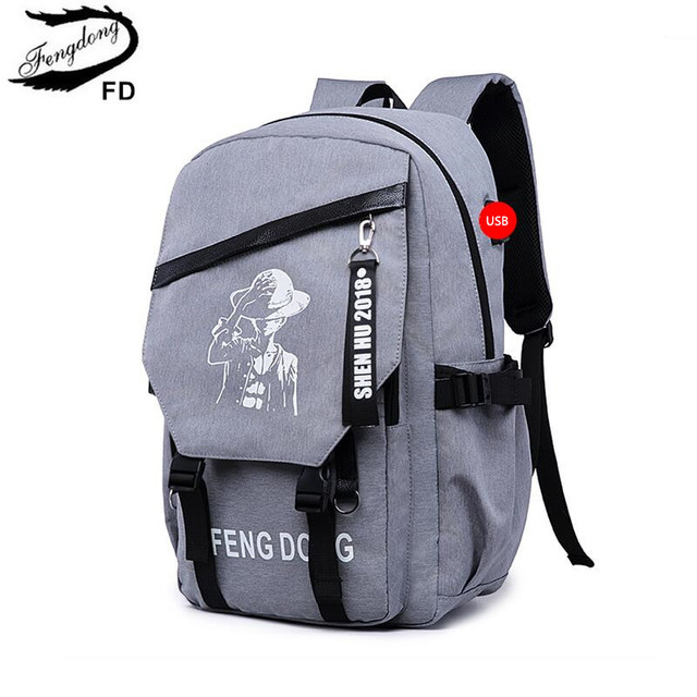 FengDong high school backpacks for boys male student laptop bag ...