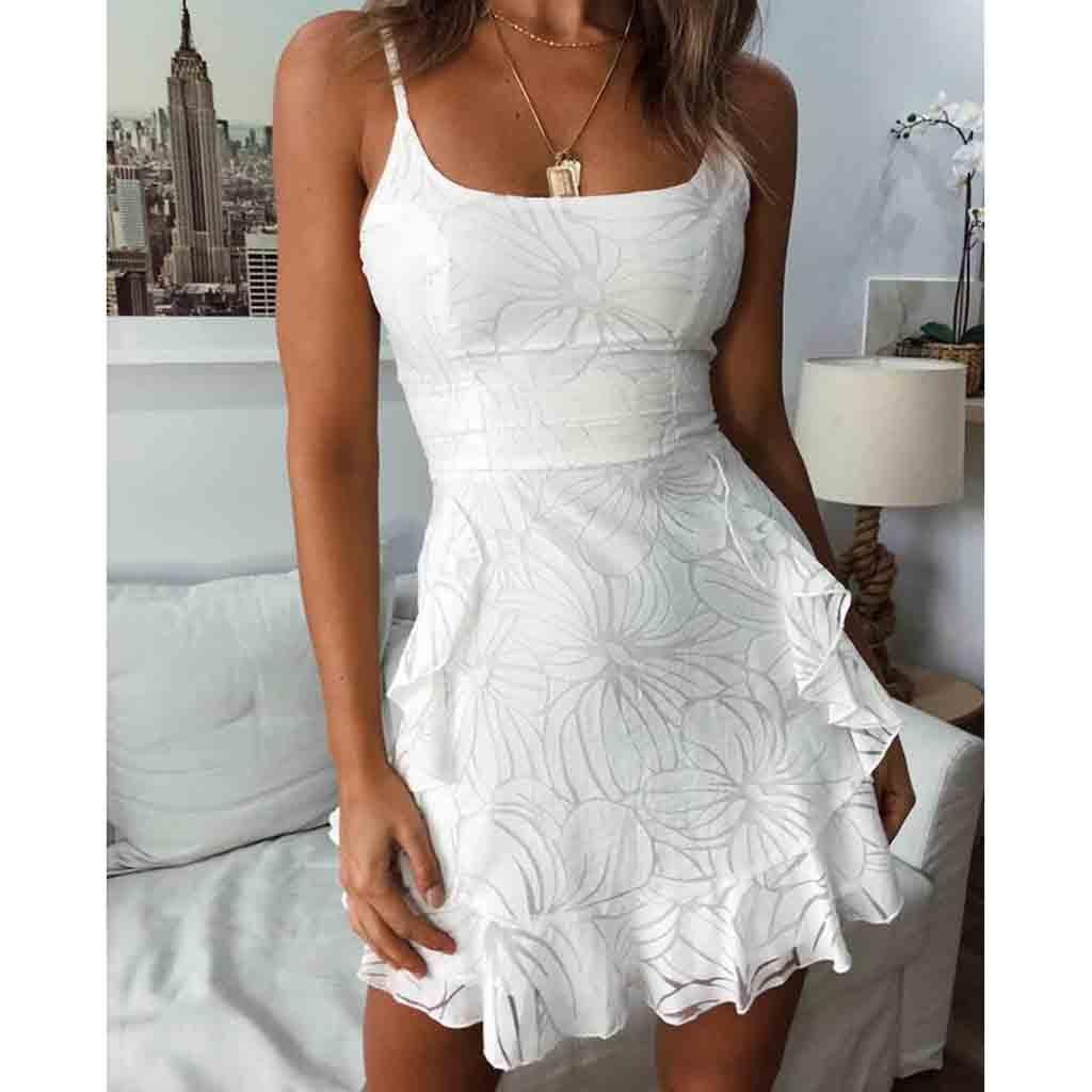 White Dame Feitong D'été De Robes Lacets Vacances Femmes Fête D'impression Tenue À Dames Plage Boutons rtt6gW