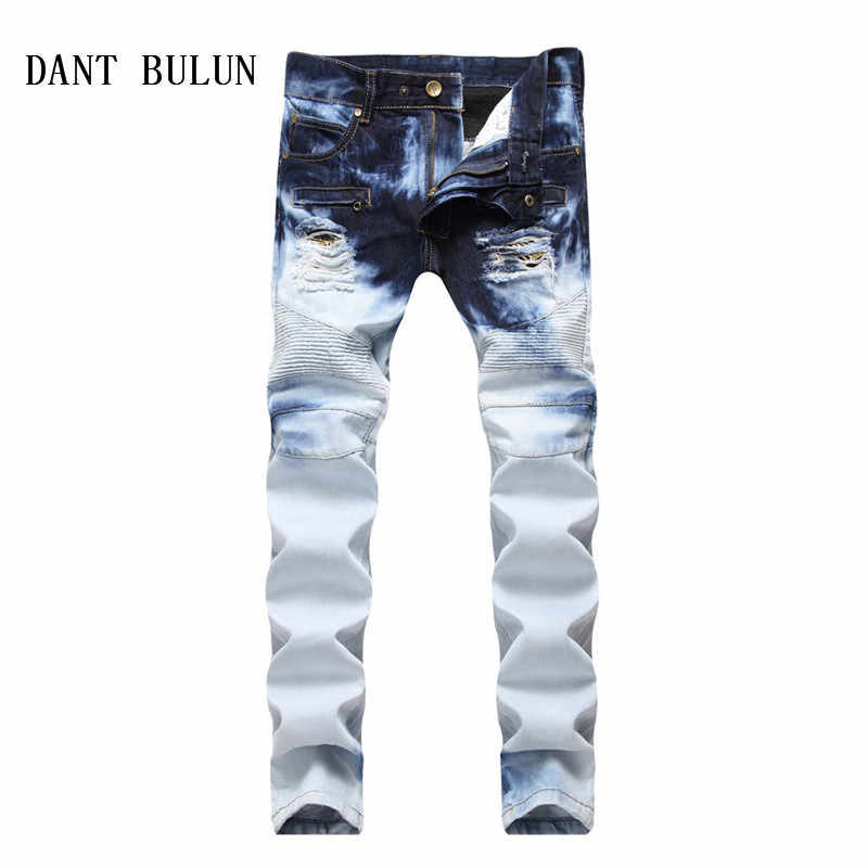 8e7fb90b Detail Feedback Questions about DANT BULUN Men Jeans Pleated Patchwork Hole  Ripped Biker Jeans For Motorcycle Casual Slim Fit Distressed Blue Denim  Pants ...