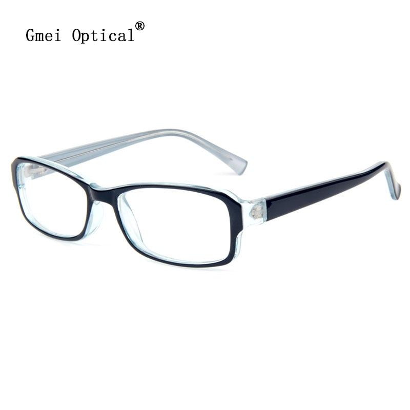 1dbc2bbba90 Gmei Optical Black Clear Plastic Rectangular Full Rim Optical Glasses Frames  Collection Men   Women Eyeglasses Frame Style T8006