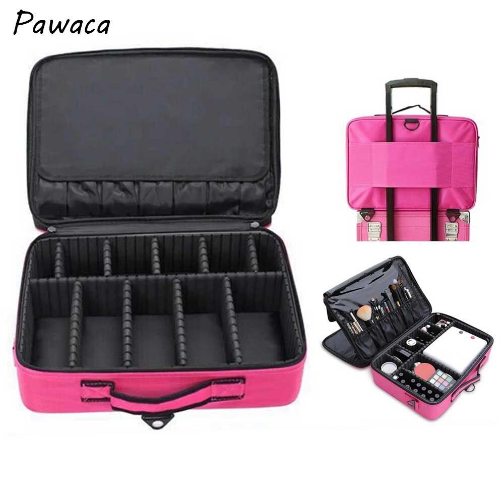 Femmes Portable sac de maquillage cosmétique organisateur boîte de rangement 3 couches pour brosse ensemble ongles cosmétiques outil de beauté