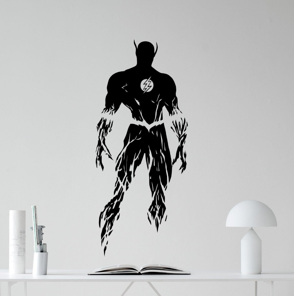 online get cheap wall murals superhero aliexpress com alibaba group new arrival flash wall sticker flash superhero comics cartoon poster wall vinyl sticker kids room nursery wall art decor mural