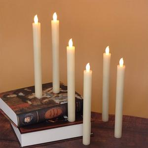 Image 3 - Eldnacele Set of 6 Flameless Flickering Candles Real Wax Candles LED Window Taper Candles with Timer and Remote Control