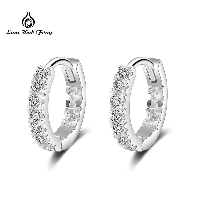 925 Sterling Silver Shining Hoop Earrings Brilliant Wedding Engagement Gift for Women Fashion Jewelry Anniversary Wholesale