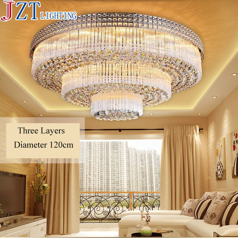 Us 315 35 15 Off M Luxury Living Room Crystal Ceiling Lamp Led E14 Bulb And Led Strips Light Source Modern High End Round 2 3 Layer Led Light In