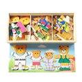 4 Tipos Bebé Juguetes De Madera De Madera Vestir Oso Vestir Jigsaw Puzzle Kids Vestido de Cambio de Montessori Juguetes Educativos Regalo Del Niño