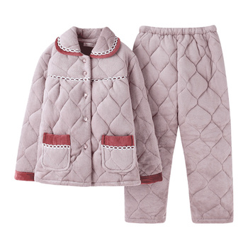 Three-layer thick coral velvet quilted pajamas Middle-aged women's flannel quilted sleepwear Long sleeve warm pijamas mujer XXXL фото