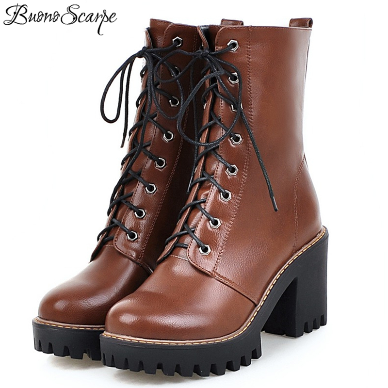 BuonoScarpe New Chic Motorcycle Boots For Women Fashion Shoes Woman Ankle Boots Platform Lace Up Martin