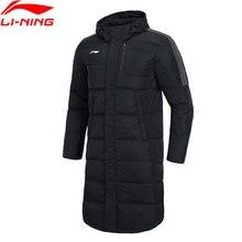 Li-Ning, мужская тренировочная серия, длинное пуховое пальто с капюшоном, съемный капюшон, 70% белый утиный пух, подкладка, зимняя спортивная куртка AYMN075 MWY316