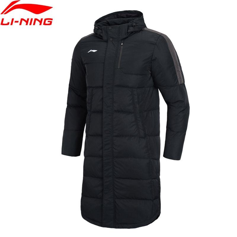 Li-Ning Men Training Series Long Down Hooded Coat Detachable Hood 70%White Duck Down LiNing Winter Sports Jacket AYMN075 MWY316