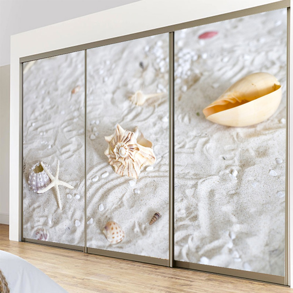Yazi customized size beach shell pvc wallpaper mural for Back painted glass designs for wardrobe