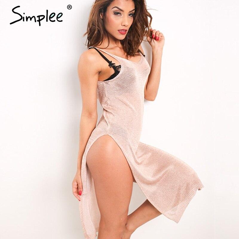 Buy Cheap Simplee Knitted sexy summer dress women Hollow out deep V neck party dress robe Backless elastic slit dress vestidos de vesta