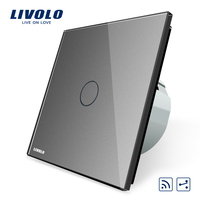 Livolo EU Standard 1Gang 2 Way Remote Switch Wireless Switch VL C701SR 15 Grey Color Glass