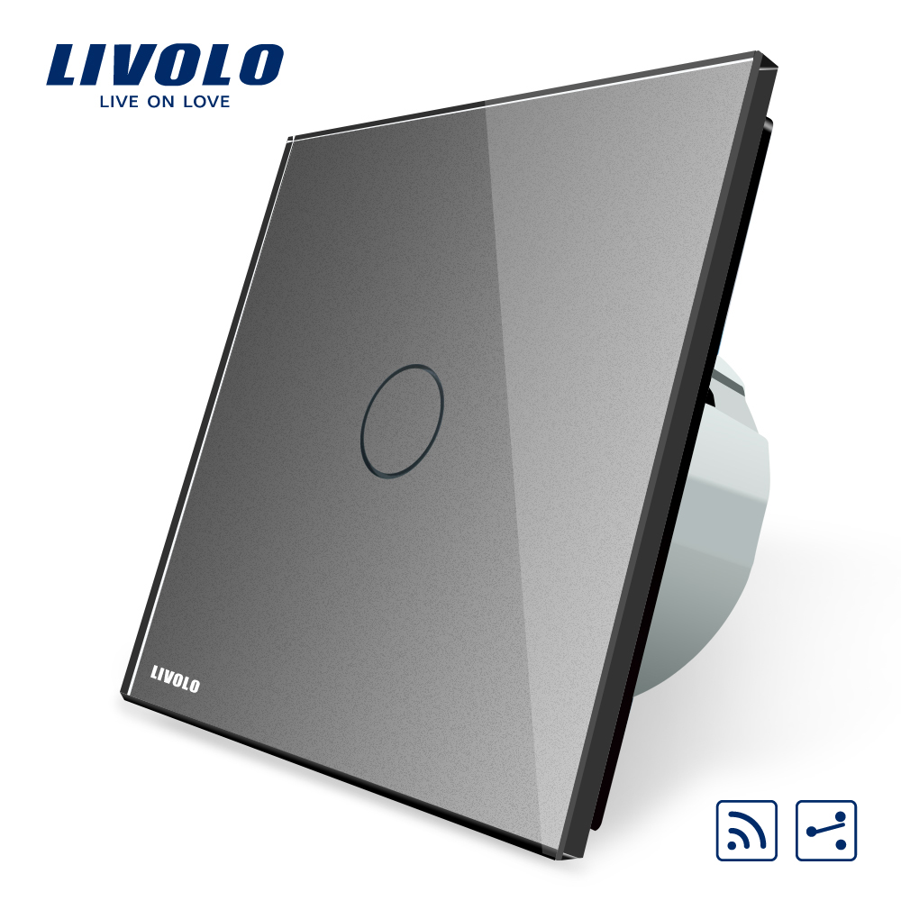 Livolo Standard de L'UE 1 Gang 2 Voies, Interrupteur à distance, sans fil Commutateur VL-C701SR-15, Gris Couleur Verre, sans Mini À Distance