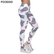 FCCEXIO High Elasticity Fruit 3D Printed Summer Fashion High-quality Fitness Slim Legging Women Casual Home Leggings Woman Pants