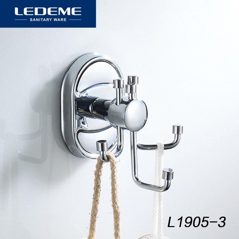 LEDEME Robe Hook Clothes Hook Chrome Finish Elegant Bathroom Hardware Robe Hooks Bathroom Accessories Nail 3 Hooks L1905-3