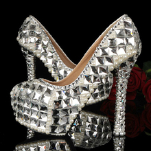 Sparkling Bridal Wedding Shoes High Heel Crystal Rhinestone Shoes for Bride Banquet Evening Party Club Prom Dancing Shoes