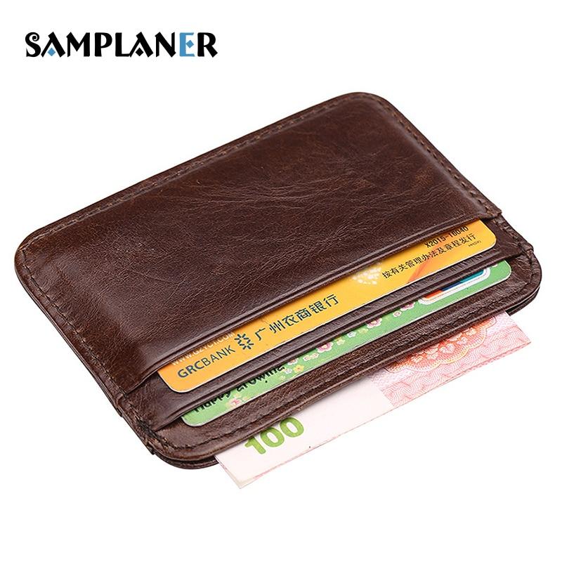 Samplaner Genuine Leather Men Card Holders Business Man Credit Card Case Slim Cash Pack Mens Wallet Minimalist Bus Card Holder