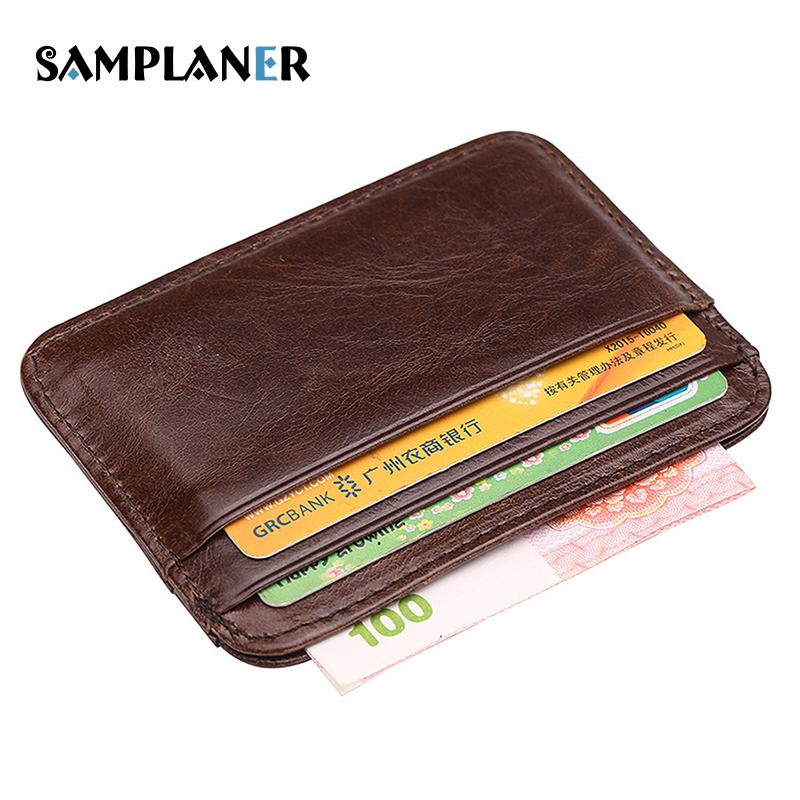 Samplaner Genuine Leather Men Card Holders Business Man Credit Card Case Slim Cash Pack Mens Wallet Minimalist Bus Card Holder