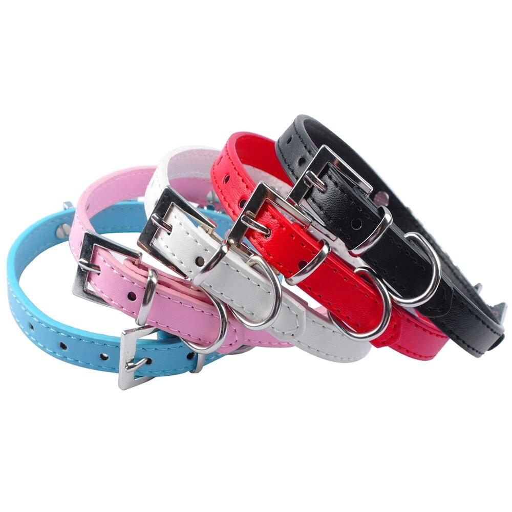 5 Warna Plain Leather Personalized Pet Dog Collars Nama Kucing DIY - Produk haiwan peliharaan - Foto 2